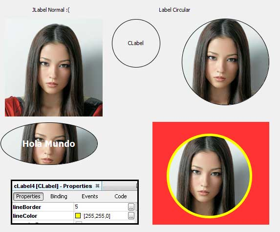 إنشاء اطار دائري للصور باستخدام JLabel  CircleLabel