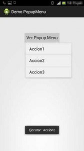 Popup menu android