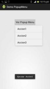 Popup menu android