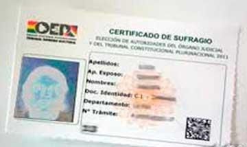 Certificado de sufragio bolivia