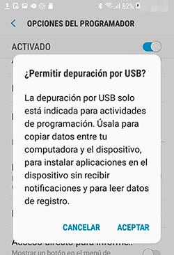 permiso de depuración USB