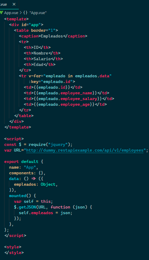 servicio web rest con javascript vue ejemplo completo