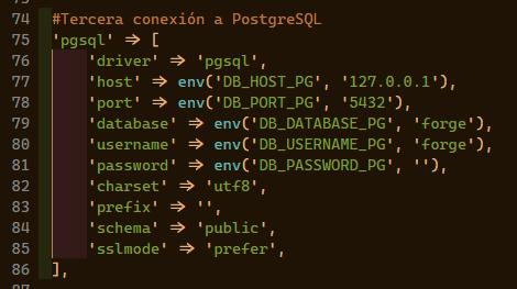 database laravel pgsql mysql